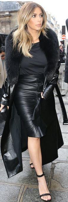 Kim Kardashian: Coat – Celine  Skirt – Givenchy  Shirt – Alexander Wang  Shoes – Tom Ford
