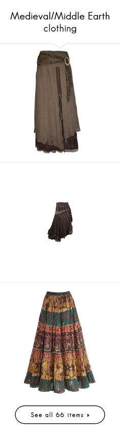 """Medieval/Middle Earth clothing"" by homeschoolcool ❤ liked on Polyvore featuring skirts, steampunk, doll clothes, bottoms, brown maxi skirt, long cotton skirts, long tribal skirts, long maxi skirts, long skirts and long rayon skirt"