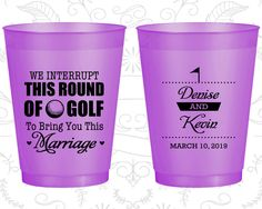 We interrupt this round of Golf to Bring you this Marriage, Wedding Favor Frosted Cups, Golf Wedding, Purple Frosted Cups (309)