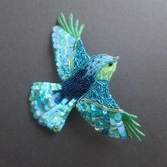 Grande Broche Oiseau Brodé Bleu Broderie от LesHautsNuages