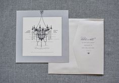 Gray and Black Vintage Chandelier Wedding Invitation    by Invited by LamaWorks - Every invitation deserves to be custom www.lamaworks.etsy.com