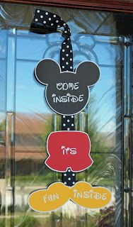 Mickey Mouse party door sign Come Inside It's Fun Inside.  Etsy shop https://www.etsy.com/shop/welcomingsentiments/