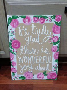Canvas Board Acrylic Painting Be Glad. by DelightedTreasures, $20.00