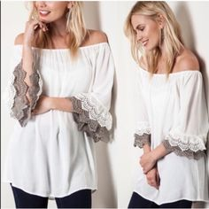 The CAIA off shoulder ruffle top -WHITE Pair with jeans or shorts & you are set for a fun day! Comfortable, yet dressy. ‼️️NO TRADE, PRICE FIRM‼️ Bellanblue Tops