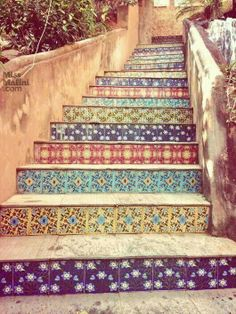My dear Tia wants to do this to her home stairs...cool