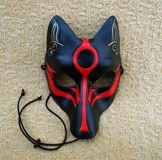 Black Okami Kitsune Mask... Japanese Fox Leather Mask by Merimask