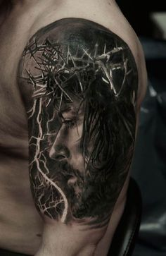 Jesus 3D arm Tattoo portrait - Title