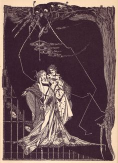 drawing Illustration surrealism art nouveau harry clarke theater faust goethe