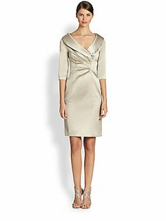 Kay Unger Stretch Satin Shawl Collar Dress - great mother of the bride dress