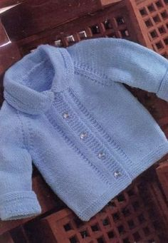 Emu 8244 Easy To Knit Vintage Baby Jacke - Diy Crafts - maallure Baby Cardigan Knitting Pattern, Baby Boy Knitting, Knitting For Kids, Double Knitting, Baby Knitting Patterns, Baby Patterns, Vintage Patterns, Double Crochet, Knit For Baby