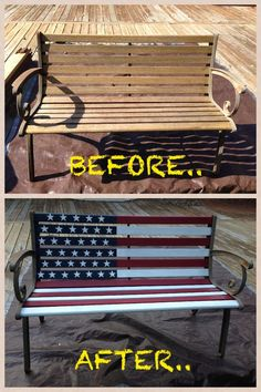 Rustic Patriotic American Flag Garden Wood Bench Makeover perfect for Create-A-Bench Americana Crafts, Patriotic Crafts, Patriotic Decorations, July Crafts, Patriotic Flags, Yard Decorations, Summer Crafts, Painted Chairs, Painted Furniture