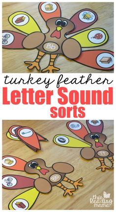 Beginning Letter Sound Sorts with Turkey Feathers {FREE Printable} | This Reading Mama