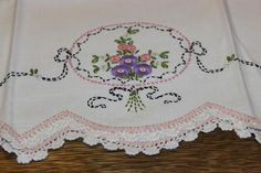 Vintage Embroidery Hand Embroidered Pillowcases - Two large, vintage percale pillowcases, beautifully hand embroidered with pink, green and mauve threads. Never used and still in the plastic packaging. Approximate Dimensions: (L), (W) Learn Embroidery, Hand Embroidery Patterns, Vintage Embroidery, Embroidery Kits, Embroidery Stitches, Embroidery Designs, Lazy Daisy Stitch, Romantic Shabby Chic, Embroidered Pillowcases