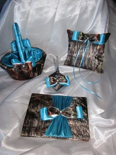 Camo and Teal Satin Wedding Set  Ring Bearers by MoonjellyDesigns, $100.00