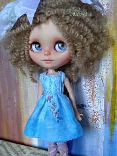 2fbd39cf8 Blythe or Pullip Doll Dress - OOAK - Hand dyed linen with dimensional  flowers by LittleLovelieShop