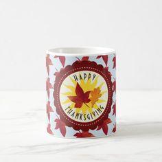Happy Thanksgiving Sky and Fall Leaves Coffee Mug - fall decor diy customize special cyo