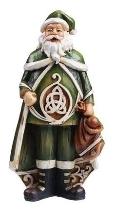"$14.99-$19.99 Irish Santa Claus Figure Item #62423 Features a unique woodcut look Comes gift boxed Dimensions: 6""H x 3""W x 1.5""D Material(s): resin/stone mix"