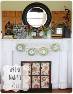 Spring Mantel 2011 | MyBlessedLife.net  Like the idea for the fireplace screen