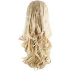 Eva Long Loose Curls Half-Head Wig In #24/613 Light Golden Blonde (44 AUD) ❤ liked on Polyvore featuring beauty products, haircare, hair styling tools and hair