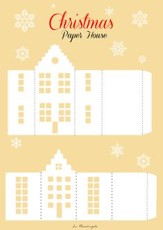 christmas paper house template paper house template awesome definitely want to design some for christmas paper houses templates - Templates Station Noel Christmas, Christmas Paper, Vintage Christmas, Origami Christmas, Christmas Projects, Christmas Crafts, Christmas Decorations, Diy Paper, Paper Crafts