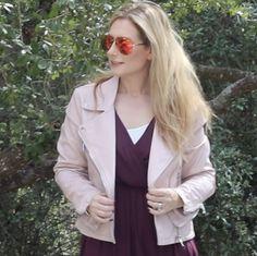e0ecd696f66 BlankNYC Moto Jacket with Lush Dress and Quay Aviators on MsGoldgirl