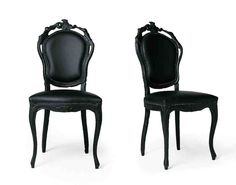 Contemporary Dining Chairs In Black Design Inspiration : Elegant French Italian Painted Black Dining Chair with Black Leather Chair and Black Carving Wood for Home Interior Design Inspiration Black Leather Chair, White Leather Dining Chairs, Black Dining Chairs, Painted Dining Chairs, Contemporary Dining Chairs, Contemporary Design, Modern Design, French Chairs, Cool House Designs