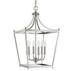 Stanton Polished Nickel Six Light Foyer Pendant Lantern Pendant Lighting Ceiling Lighting