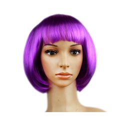Women's Sexy Short Bob Cut Fancy Dress Wigs Play Costume Ladies Full Wig Party Purple