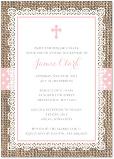 Rustic Burlap + Pink Cross Baptism Christening Invitations - with pink polka dots belly band