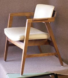 Here's a beautiful example of a 1978 Gunlocke chair we recently acquired – the wood is solid walnut and the upholstery is in good shape. Here's a bit of history on the company (re…
