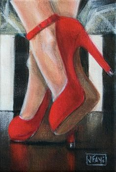 Ankles Deep in Red by jacqui faye, painting by artist jacqui faye