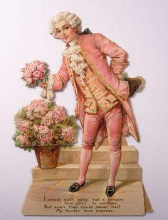 TUCK - FRANCES BRUNDAGE Valentine - Colonial Man Offering Flowers - 1900