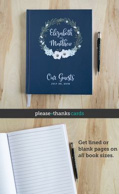 Navy Blue Wedding Guest Book personalized with your names and wedding date.