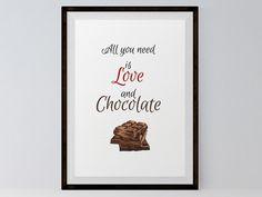 """Wanddeko - (PDF) Poster """"Schokolade"""" zum Ausdrucken - ein Designerstück von…"""