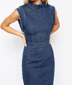 Vestidos 2016 летнее платье обратно выдалбливают рукавов женские Bodycon платье твердые джокер синий деним платье бесплатная доставка купить на AliExpress