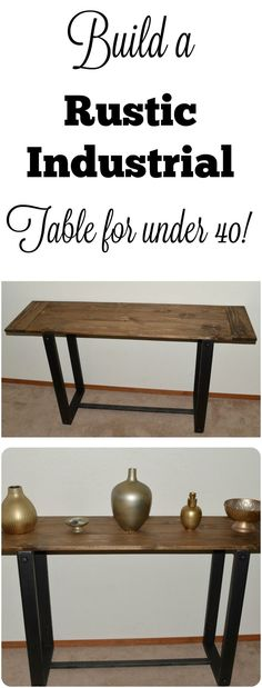DIY. How to build a console, buffet, entry table, sofa table. Rustic industrial or farmhouse style.