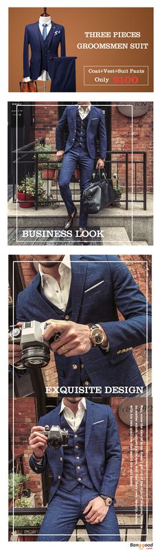 US$100+Free shipping. Men's Suit, Three Pieces Groomsman Suit. Coat+Vest+Suit Pants, Reasonable Price. Casual, Fashion, Busines. Every man should have a suit. It's necessary in important occasion. Shop now~