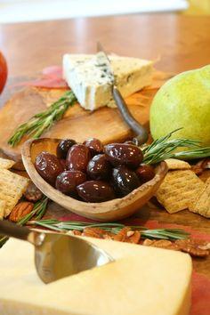 Cheese Board Ideas - Blue Cheese, Havarti, Olives, Rosemary Garnish