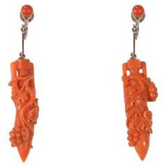 Pair of Archaeological Style Coral Gold Drop Earrings