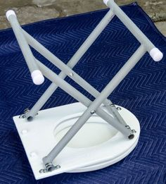 Step Attach Folding Legs camping equipment Bolt An Old Toilet Seat To A Piece Of Plywood To Transform It Into A Portable Potty