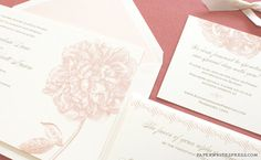 Peony Wedding Invitation Peony Wedding by paperwhitespress on Etsy