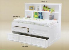 Stylish Melissa Daybed with Trundle, Storage Drawers & Bookcase Headboard - $699 at www.SolomonsFurniture.com.
