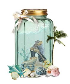 """Mermaid in a Mason Jar"" by elmtree87 ❤ liked on Polyvore featuring art"