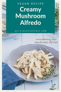 This creamy vegan mushroom alfredo is what dreams are made of. It's quick and easy, and so rich and cheesy that you'd never know it's completely dairy-free. You'll never guess the secret ingredient! Easy Vegan Dinner, Vegetarian Recipes Dinner, Vegan Dinners, Vegan Recipes, Spicy Recipes, Easy Holiday Recipes, Healthy Recipes On A Budget, Christmas Recipes, Healthy Appetizers