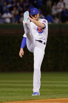Kris Bryant #17 of the Chicago Cubs warms up before Game Four of the 2016 World Series against the Cleveland Indians at Wrigley Field on October 29, 2016 in Chicago, Illinois.