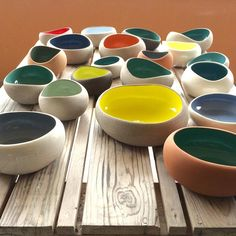 Yellows and greens #myrtozirini #ceramics#corfu#pottery#pebbles#organicshapes#colours
