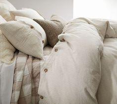 Wheaton Stripe Duvet Cover & Sham - Flax | Pottery Barn
