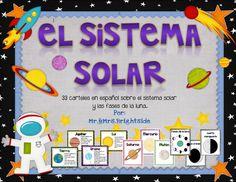 33 carteles del sistema solar: planetas, sol, fases de la luna. Biligual - dual language classrooms