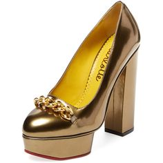 Charlotte Olympia Women's Agate Platform Pump - Gold - Size 35 ($399) ❤ liked on Polyvore featuring shoes, pumps, gold, metallic platform shoes, charlotte olympia pumps, metallic shoes, gold pumps and high heel platform shoes