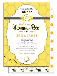 Bee baby shower invitation mom to bee bee themed baby shower printable mommy to bee baby shower invitation filmwisefo